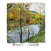 Autumn By The River Shower Curtain