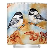 Autumn Chickadees Shower Curtain