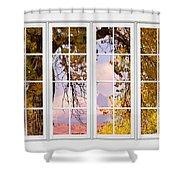Autumn Cottonwood Tree Longs Peak White Window View Shower Curtain