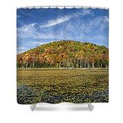 Serene Pond Vermont Autumn Panorama Shower Curtain