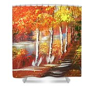 Autumn Falling Leaves  Shower Curtain