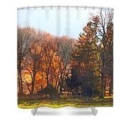 Autumn Farm With Harrow Shower Curtain