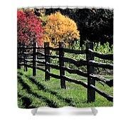Autumn Fence And Shadows Shower Curtain