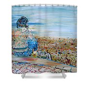 Autumn - Girl At The Lake Shower Curtain