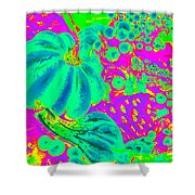 Autumn Harvest In Green And Purple - Pop Art Shower Curtain