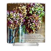 Autumn Hydrangeas Photoart With Verse Shower Curtain