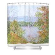 Autumn By The Lake In New Hampshire Shower Curtain