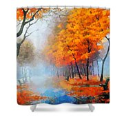 Autumn In The Morning Mist Shower Curtain