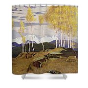 Autumn In The Mountains Shower Curtain by Adrian Scott Stokes