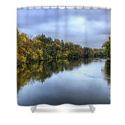 Autumn In The River Shower Curtain
