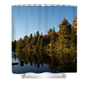Autumn Lake In The Forest - Reflection Tranquility Shower Curtain