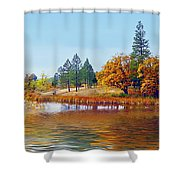 Autumn Lake In The Woods Shower Curtain