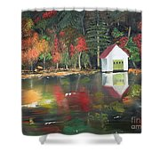 Autumn - Lake - Reflecton Shower Curtain