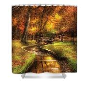 Autumn - Landscape - By A Little Bridge  Shower Curtain by Mike Savad