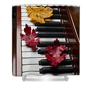 Autumn Leaves On Piano Shower Curtain