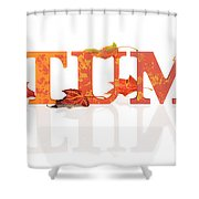 Autumn Letters With Leaves Shower Curtain