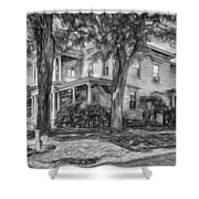 Autumn Mansion 4 - Paint Bw Shower Curtain