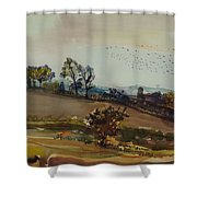 Autumn Mood, 1980 Wc On Paper Shower Curtain