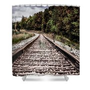 Autumn On The Railroad Tracks Shower Curtain