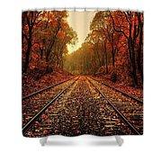 Autumn On The Tracks Shower Curtain
