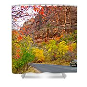 Autumn On Zion Canyon Scenic Drive In Zion National Park-utah  Shower Curtain