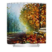 Autumn Park - Palette Knife Oil Painting On Canvas By Leonid Afremov Shower Curtain