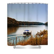 Autumn Pontoon Boating Argyle Lake Shower Curtain