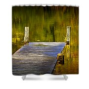 Autumn Reflections And Boat Dock On A Pond Near Yankee Springs Michigan Shower Curtain