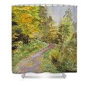 Autumn Riverside Walk Version1 Shower Curtain