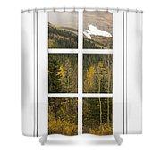 Autumn Rocky Mountain Glacier View Through A White Window Frame  Shower Curtain