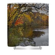 Autumn Scene Of The Flat River Shower Curtain