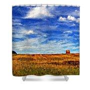 Autumn Sky Impasto Shower Curtain