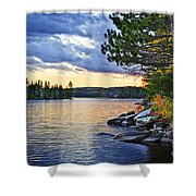 Autumn Sunset At Lake Shower Curtain