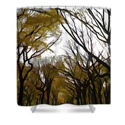 Autumn Trees Panoramic Shower Curtain