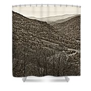 Autumn Valley Sepia Shower Curtain