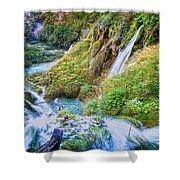 Autumn Valley Waterfalls Shower Curtain