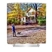 Autumn - Walking The Dog Shower Curtain
