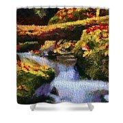 Autumn Waterfall Canvas Shower Curtain