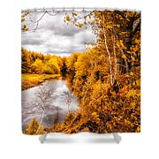 Autumn White Mountains Maine Shower Curtain