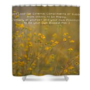 Autumn Wildflowers W Quote Shower Curtain