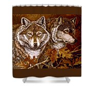 Autumn Wolves Shower Curtain