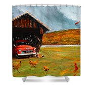 Autumnal Restful View-farm Scene Paintings Shower Curtain