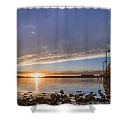 Autumnal Sunset At Del Norte Pier Shower Curtain
