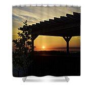 Avalon Beach Gazebo At Sunrise Shower Curtain by Bill Cannon
