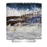 Avalon Rockpool In A Storm Shower Curtain