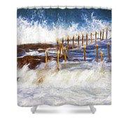 Avalon Rockpool With Crashing Waves Shower Curtain