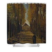 Avenue Of Poplars In Autumn Shower Curtain