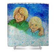 Avery And Atley Angels Of Brotherly Love Shower Curtain