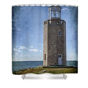 Avery Point Lighthouse Shower Curtain