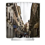 Avila Street Blue Umbrella Shower Curtain